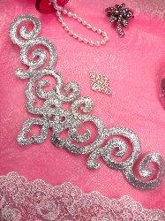 """DE3 Iron On Silver Metallic Scroll Collar Embroidered Applique 9.5"""""""