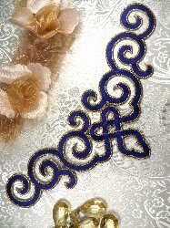DE3 Iron On Blue Gold Metallic Scroll Collar Embroidered Applique 9.5""