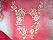 "Embroidered Lace Appliques White Anitque Floral Venice Lace Mirror Pair Motifs 11"" (DH100X)"