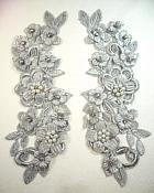 "3D Venice Lace Applique Silver Floral Venise Lace with Crystal Rhinestones and Pearls 8"" (DH101X)"