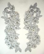 """3D Venice Lace Applique Silver Floral Venise Lace with Crystal Rhinestones and Pearls 8"""" (DH101X)"""