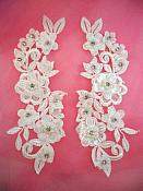 """3D Venice Lace Applique White Floral Venise Lace with Crystal Rhinestones and Pearls 8"""" (DH101X)"""