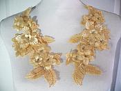 "Venice Lace 3D Gold Applique Floral Venise Lace with Crystal Rhinestones 9"" (DH102X)"