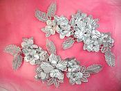 "Venice Lace 3D Silver Applique Floral Venise Lace with Crystal Rhinestones 9"" (DH102X)"