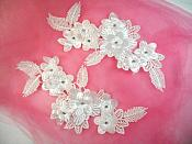"Venice Lace 3D White Applique Floral Venise Lace with Crystal Rhinestones 9"" (DH102X)"