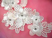 "Venice Lace 3D White Applique Floral Venise Lace with Crystal Rhinestones 9"" (DH102X)"
