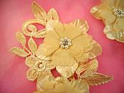 "Venice Lace 3D Gold Applique Floral Venise Lace with Crystal Rhinestones and Pearls 9"" (DH103X)"