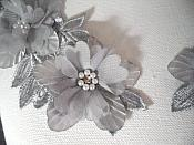 """Venice Lace 3D Silver Applique Floral Venise Lace with Crystal Rhinestones and Pearls 9"""" (DH103X)"""