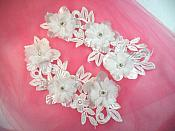 "Venice Lace 3D White Applique Floral Venise Lace with Crystal Rhinestones and Pearls 9"" (DH103X)"