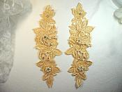 """Venice Lace 3D Gold Applique Floral Venise Lace with Crystal Rhinestones and long Pearls Dangles 10"""" (DH104X)"""