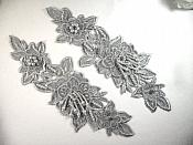 "Venice Lace 3D Silver Applique Floral Venise Lace with Crystal Rhinestones and Pearls Dangles 10"" (DH104X)"