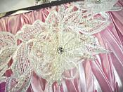 """One Side Venice Lace 3D White Applique Floral Venise Lace with Crystal Rhinestones and Pearls Dangles 10"""" (OSDH104X)"""
