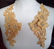 """Venice Lace 3D Gold Applique Floral Venise Lace with Crystal Rhinestones and Pearls Dangles 9"""" (DH105X)"""