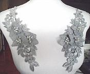"Venice Lace 3D Silver Applique Floral Venise Lace with Crystal Rhinestones and Pearls Dangles 9"" (DH105X)"