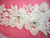 "REDUCED Venice Lace 3D White Applique Floral Venise Lace with Crystal Rhinestones and Pearls Dangles 9"" (DH105X)"