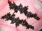 "Embroidered Lace Appliques Black Floral Venice Lace Mirror Pair 14.5"" (DH106X)"
