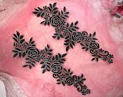 """Embroidered Lace Appliques Black Silver Floral Venice Lace Mirror Pair 14.5"""" (DH106X)"""
