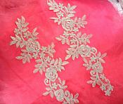 """Embroidered Lace Appliques Light Silver Floral Venice Lace Mirror Pair 14.5"""" (DH106X)"""