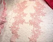 "Embroidered Lace Appliques Pink Floral Venice Lace Mirror Pair 14.5"" (DH106X)"