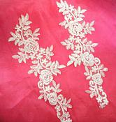 "Embroidered Lace Appliques White Floral Venice Lace Mirror Pair 14.5"" (DH106X)"