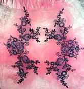 """Embroidered Venice Lace Appliques Navy Floral Venice Lace Mirror Pair 13"""" (DH107X)"""