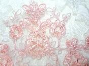 """Embroidered Venice Lace Appliques Pink Floral Venice Lace Mirror Pair 13"""" (DH107X)"""