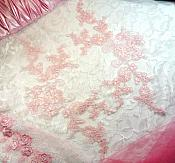 "Embroidered Venice Lace Appliques Pink Floral Venice Lace Mirror Pair 13"" (DH107X)"