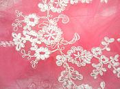 """RMDH107X  (REDUCED) Embroidered Venice Lace Appliques White Floral Venice Lace Mirror Pair 13"""""""