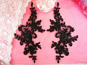 "Embroidered Venice Lace Appliques Black Floral Venice Lace Mirror Pair 9"" BL131x"