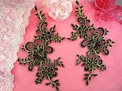 "Embroidered Venice Lace Appliques Black Gold Floral Venice Lace Mirror Pair 9.5"" (DH108X)"