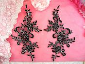 "Embroidered Venice Lace Appliques Black Silver Floral Venice Lace Mirror Pair 9.5"" (DH108X)"