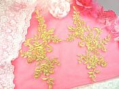 "Embroidered Venice Lace Appliques Gold Floral Venice Lace Mirror Pair 9.5"" (DH108X)"