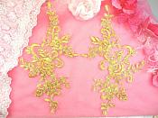 "Embroidered Venice Lace Appliques Gold Floral Venice Lace Mirror Pair 9"" BL131x"