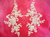 "Embroidered Venice Lace Appliques Ivory Floral Venice Lace Mirror Pair 9"" Bl131x"