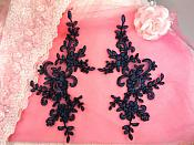 "Embroidered Venice Lace Appliques Navy Blue Floral Venice Lace Mirror Pair 9"" BL131x"