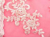 "Embroidered Venice Lace Appliques Pink Floral Venice Lace Mirror Pair 9.5"" (DH108X)"