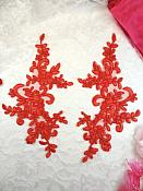 "Embroidered Venice Lace Appliques Red Floral Venice Lace Mirror Pair 9.5"" (DH108X)"