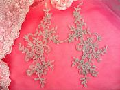 "Embroidered Venice Lace Appliques Silver Floral Venice Lace Mirror Pair 9.5"" (DH108X)"