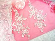 """Embroidered RMDH108X-whsl REDUCED Venice Lace Appliques White Silver Floral Venice Lace Mirror Pair 9.5"""" (RMDH108X)"""