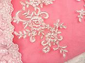 "Embroidered Venice Lace Appliques White Silver Floral Venice Lace Mirror Pair 9.5"" (DH108X)"