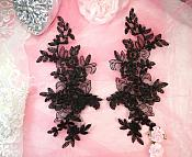 "Embroidered Venice Lace Appliques Black Floral Venice Lace Mirror Pair 10"" (DH109X)"