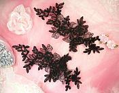 "Embroidered Venice Lace Appliques Black Floral Venice Lace Mirror Pair 10"" (DH109X)"