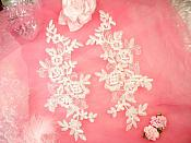 "Embroidered Venice Lace Appliques Off White Floral Venice Lace Mirror Pair 10"" (DH109X)"