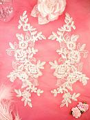 """Embroidered Venice Lace Appliques Off White Floral Venice Lace Mirror Pair 10"""" (DH109X)"""