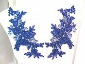 "Embroidered Venice Lace Appliques Blue Floral Venice Lace Mirror Pair 10"" (DH109X)"