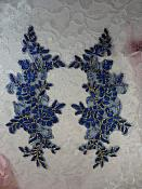 "Embroidered Venice Lace Appliques Blue Gold Floral Venice Lace Mirror Pair 10"" (DH109X)"