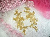 """Embroidered Venice Lace Appliques Gold Floral Venice Lace Mirror Pair 10"""" (DH109X)"""