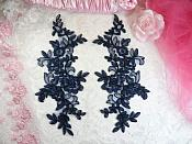 "Embroidered Venice Lace Appliques Navy Floral Venice Lace Mirror Pair 10"" (DH109X)"