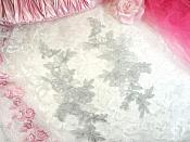 "Embroidered Venice Lace Appliques Silver Floral Venice Lace Mirror Pair 10"" (DH109X)"