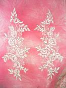 """Embroidered Venice Lace Appliques White Silver Floral Venice Lace Mirror Pair 10"""" (DH109X)"""